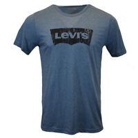 LEVI'S Men's T-shirt  Batwing Logo -Vintage Look 100%Cotton MEDIUM HEATHER BLUE