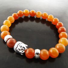 A704 GENUINE REAL 925 STERLING SILVER BUDDHA AMBER BEAD STYLE BRACELET BANGLE