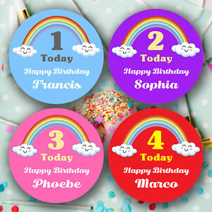 Personalised Rainbow Stickers Happy Birthday Kids Children Party Bag Favour Gift