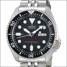 Seiko Black 21-Jewel Automatic Dive Watch, Bracelet, Deployant Clasp #SKX007K2
