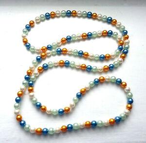 Bunte Perlenkette Endloskette aus bunten Zuchtperlen 83 cm, 5 mm