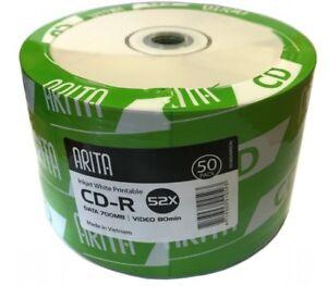 50 Arita Ritek Full Face White Printable Blank CD-R CD 52x Discs 700MB 80min