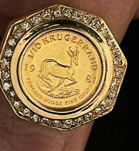 Men's 14k Gold Krugerrand Coin & Diamond Ring, 19.1 g.
