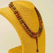 Mala Achat Moosachat 108 Perlenkette Edelstein Heilstein Meditation Buddha 110b