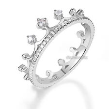 14K White Gold Wedding Band Princess Crown Ring 0.04 Ct Diamond Fine Jewelry