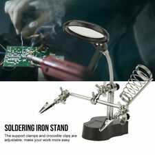 LED Helping Hand Clamp Magnifying Glass Soldering Iron Stand Len Magnifier Tool