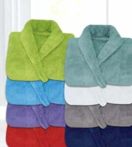 Men & Women 100% Cotton Terry Towelling Shawl Collar Bathrobe Dressing Gown