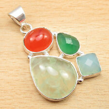 """Gifts For Mother !! PREHNITE Pendant 1.7"""" ! Silver Plated Jewelry NEW"""