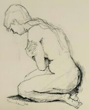 Artist 'Muamushe'? 1965 Original Ink and/or charcoal, Nude, Female Crouched