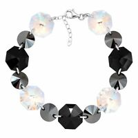 Crystaluxe Link Bracelet with Black, White Swarovski Crystals in Sterling Silver