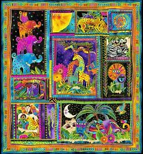 "Mythical Jungle ANIMALS PANEL Laurel Burch 10 Squares Fabric 22 x 23.5"" ~ 1/3 Yd"