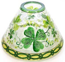 NEW Yankee Candle Crackle Glass Lucky Shamrocks St. Patrick's Large Jar Shade