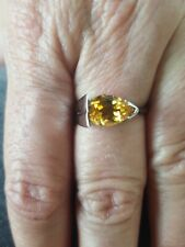 Yellow Topaz Pear Cut Ring 10kt Solid White Gold