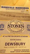 Mansfield Marksman V Dewsbury programa 1.11.87