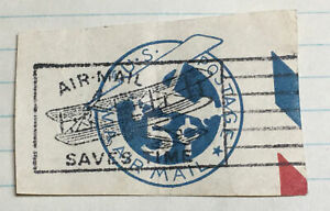 US UC2 CUT SQUARE 5 CT AIR MAIL FANCY CANCEL AIR MAIL SAVES WITH BIPLANE (B1X)