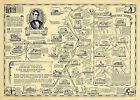 1848 Map Abraham Lincoln's visit Massachusetts History Political Wall Art Poster