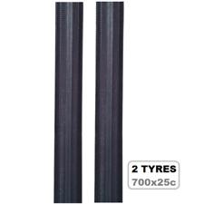 2x Factor Road Bike Tyres - 700 x 25c, Black - Pair Bicycle