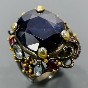 Vintage Blue Sapphire Ring Silver 925 Sterling  Size 8 /R176810
