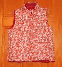 American Eagle Medium Red White Floral Reversible Puffer Quilted Vest Jacket EUC