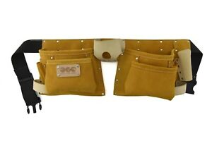 10 POCKETS SUEDE LEATHER TOOL BELT WITH 2 HAMMER LOOPS/TAPE HOLDER AND CUTTER HO
