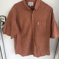 Mens Large Columbia short sleeve button up shirt orange Checkered