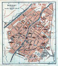 Antique map Douai Nord-Pas-de-Calais carte 1908 kaart Dowaai plattegrond