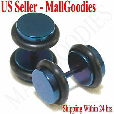 16G Surgical Steel 0G 8mm Blue Medium 2099 Fake Cheater Illusion Faux Ear Plugs