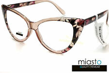 "MIASTO LARGE OVERSIZED ""BIG CAT EYE "" READER READING GLASSES+2.50 FLOWERS BROWN"