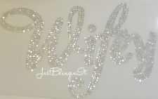 Bridal Wifey Script Large Hot Fix Rhinestone Iron On Transfer Bling MADE IN USA