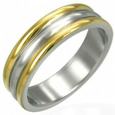 Silver Gold Tone Stainless Steel Wedding Band Ring SZ 10       s36