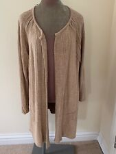 FAB M & S CAMEL LONG LENGTH KNITTED CARDIGAN - SIZE XL (22)!!