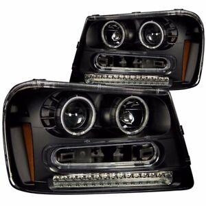 Aftermarket Headlight Pair L+R (Black) For 2002-2009 Chevrolet Trailblazer