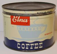Old Vintage 1950s ELNA COFFEE GRAPHIC KEYWIND COFFEE TIN ONE POUND ELNA Chicago