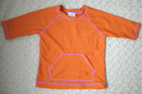 Hanna Andersson KIds Rashguard Swimsuit Top Orange Pocket Size 120 6 - 7