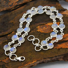 Natural Rainbow Moonstone Round Shape Gemstone 925 Sterling Silver Bracelet 8""