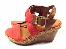 Merona Shoes Platform Wedge Heels Sandals Size 7 M Orange Brown Canvas