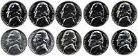 1960-1969 S Complete Set Jefferson Nickel Gem Proof & SMS Run 10 Coins US Mint