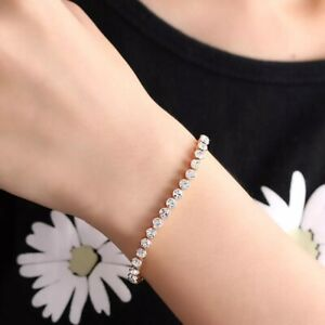 Beautiful Gold Plated Tennis Bracelet Made With Swarovski Crystals Gift 16.5cms