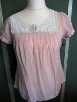 Denim Co Beautiful  Ladies Pink Top With White Lace Detail Size 10