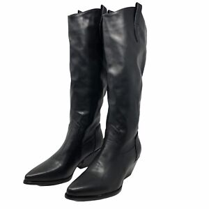 Womens Boots Size 39 6.5 Black Vegan Leather Tall Knee High Block Heel Pull On
