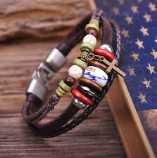 G58 Silver New Beach Leather Wood & Stone Beads Cross Bangle Bracelet Cuff Men's