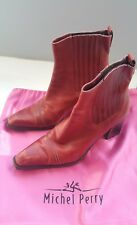 MICHEL PERRY Red Leather Ankle Boots - Size 37M