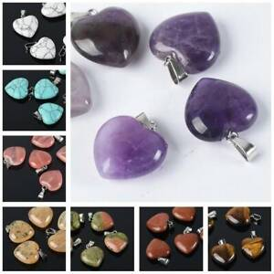 2pcs 16mm 20mm 25mm Heart Charms Natural Stone Gemstone Crafts Pendants