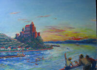 1950s MOSEL RIVER CASTLE & TOURISTS Pastel Painting sgnd ROSELLE GERMANY vintage