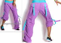 ZUMBA CARGO Samba Hip Hop PANTS --Converts-to-Capris w Snaps-- RARE!! ORCHID S M