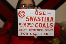 Use Swastika Brand Coal Mining Mine Gas Oil Porcelain Metal Sign