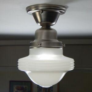 Semi-Flush Ceiling Light Fixture Vintage Glass Shade New Fixture Base