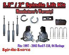 """1997 - 2003 Ford F-150 F150 2WD 5.5"""" / 3""""  Spindles blocks LIFT KIT + SHOCKS"""