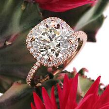 1.00 Ct Real Diamond Engagement Ring 14Kt Rose Gold Wedding Band Size N M J.25
