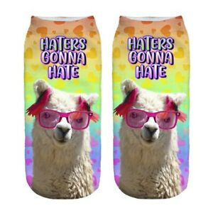 """Women's LAMA Ankle Socks """"HATERS GONNA HATE"""" Funny No Show Summer Sock Size 5-9"""